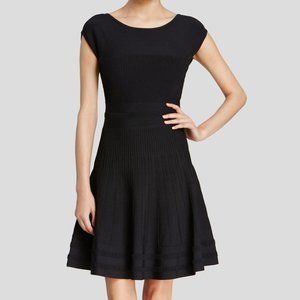 Kate Spade Black Ribbed Cap Sleeve Cocktail Dress